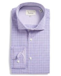 Ted Baker | Purple Spinel Trim Fit Check Dress Shirt for Men | Lyst