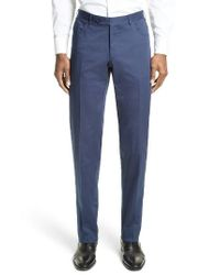 Canali | Blue Flat Front Stretch Cotton Trousers for Men | Lyst