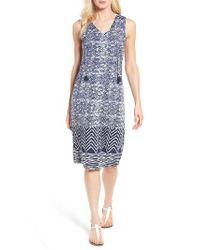 Lucky Brand - Blue Batik Print Midi Dress - Lyst