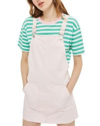 TOPSHOP - Pink Denim Pinafore Dress - Lyst