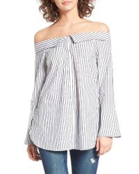 Lush | Black Stripe Off The Shoulder Top | Lyst