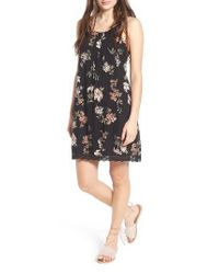 Angie | Black Floral Print Strappy Back Dress | Lyst