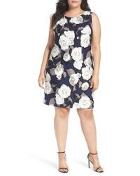 Taylor Dresses | Blue White Rose A-line Dress | Lyst