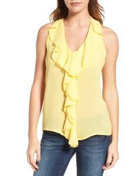 Kut From The Kloth | Yellow Ruffle Front Top | Lyst