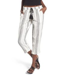 Rip Curl | White Stripe Cropped Pants | Lyst