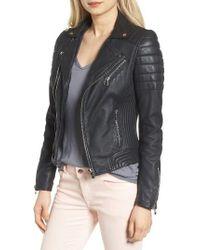 Goosecraft   Black Dual Zip Leather Biker Jacket   Lyst