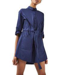 TOPSHOP   Blue Belted Shirtdress   Lyst