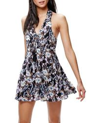 Free People   Black Floral Print Minidress   Lyst