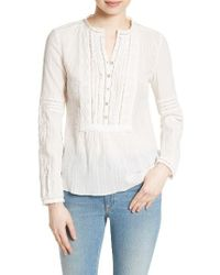 Rebecca Taylor | White Lace Trim Cotton Gauze Top | Lyst