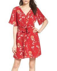 BB Dakota   Red Laselle Faux Wrap Dress   Lyst
