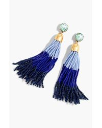J.Crew | Blue Colorblock Bead Tassel Earrings | Lyst