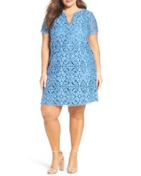 Adrianna Papell | Blue Two-tone Lace Shift Dress | Lyst