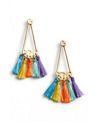 Rebecca Minkoff - Multicolor Geo Tassel Chandelier Earrings - Lyst