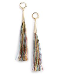 Rebecca Minkoff - Metallic Long Tassel Earrings - Lyst