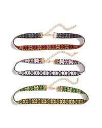 Cara - Multicolor Set Of Three Choker Necklaces - Lyst