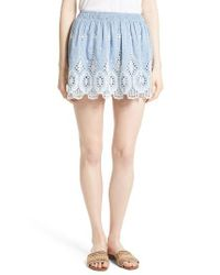 Joie | Multicolor Wanita Eyelet Embroidered Miniskirt | Lyst