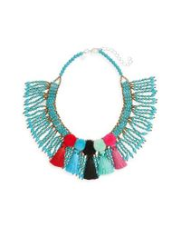 Panacea | Blue Beaded Pompom Tassel Statement Necklace | Lyst