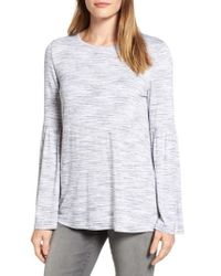 Two By Vince Camuto - Gray Jersey Bell Sleeve Top - Lyst