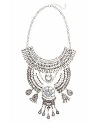 TOPSHOP | Metallic Crystal Bib Necklace | Lyst
