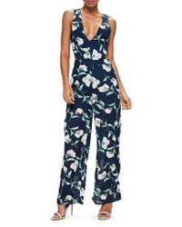 Missguided - Blue Tie Back Chiffon Jumpsuit - Lyst