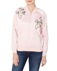 Catherine Malandrino | Pink Jimmie Embroidered Bomber Jacket | Lyst