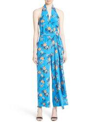 Diane von Furstenberg | Blue Halter Floral Suit Jumpsuit | Lyst