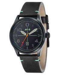 AVI-8 | Black Flyboy Leather Strap Watch | Lyst