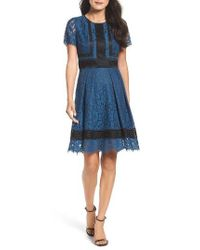 Eliza J | Blue Lace Fit & Flare Dress | Lyst