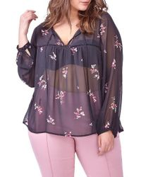 Michel Studio | Purple Sheer Floral Print Blouse | Lyst