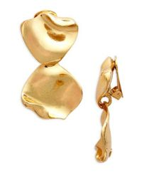 Oscar de la Renta | Metallic Gold Leaf Clip Earrings | Lyst
