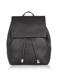 TOPSHOP | Black Chain Strap Mini Faux Leather Backpack | Lyst