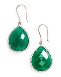 Susan Hanover - Green Small Semiprecious Stone Teardrop Earrings - Lyst