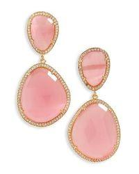 Susan Hanover - Pink Semiprecious Stone Drop Earrings - Lyst