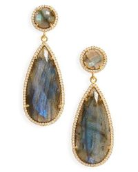 Susan Hanover | Metallic Semiprecious Stone Teardrop Earrings | Lyst