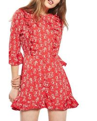 TOPSHOP   Red Floral Ruffle Romper   Lyst
