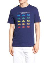Lacoste - Blue Color Croc Graphic T-shirt for Men - Lyst