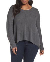 Eileen Fisher | Gray Seam Front Merino Sweater | Lyst