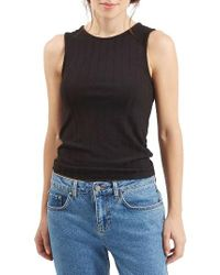 TOPSHOP | Black Ribbed Tank | Lyst
