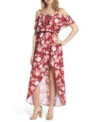 Mimi Chica - Red Cold Shoulder Asymmetrical Maxi Dress - Lyst