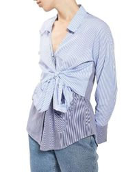 TOPSHOP | Blue Tie Wrap Stripe Shirt | Lyst