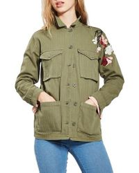 TOPSHOP | Green Embroidered Army Shirt Jacket | Lyst