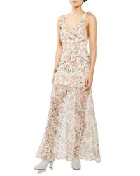 TOPSHOP | Natural Floral Ruffle Maxi Dress | Lyst