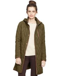 Lauren by Ralph Lauren - Green Faux Leather Trim Quilted Coat - Lyst