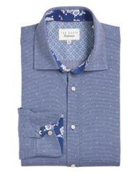 Ted Baker | Blue Trim Fit Dot Dress Shirt for Men | Lyst