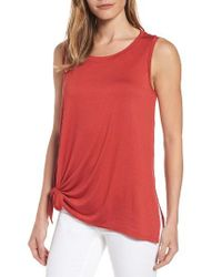 Caslon | Red Caslon Knot Front Jersey Tank | Lyst