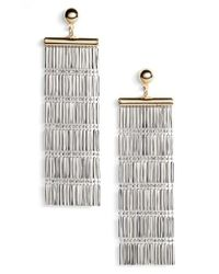 Argento Vivo | Metallic Two-tone Linear Fringe Earrings | Lyst