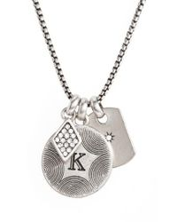 Treasure & Bond - Metallic Triple Charm Initial Pendant Necklace - Lyst