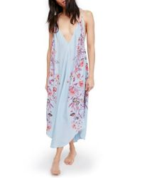 Free People | Blue Ashbury Floral Print Slipdress | Lyst