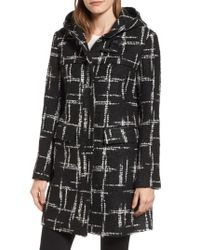 Ellen Tracy - Black Pattern Boucle Hooded Toggle Topper - Lyst