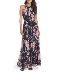 Eliza J | Blue Floral Halter Maxi Dress | Lyst